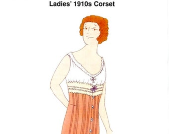 Reconstructing History 1057 / Ladies' 1910s Corset / Edwardian Corset / Sewing Pattern / Uncut / Multi Size Pattern