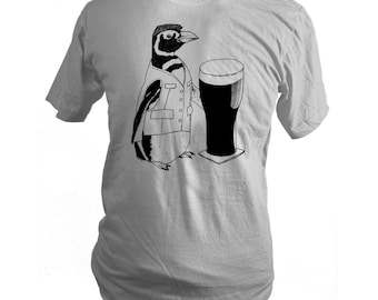 Slate Grey Beer Penguin Screen Printed T-Shirt, Men, Women, Unisex, Made in USA - Gifts for Him or Her, St. Patrick's Day