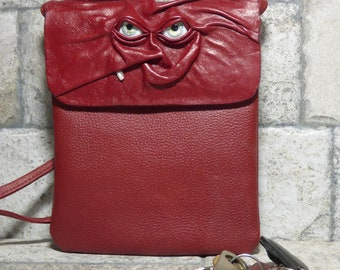 Small Cross Body Purse Pouch Monster Face Red Leather Harry Potter Labyrinth 437