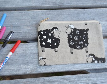 Pencil Pouch Pencil Case Back To School Grey Gray Black White Sheep
