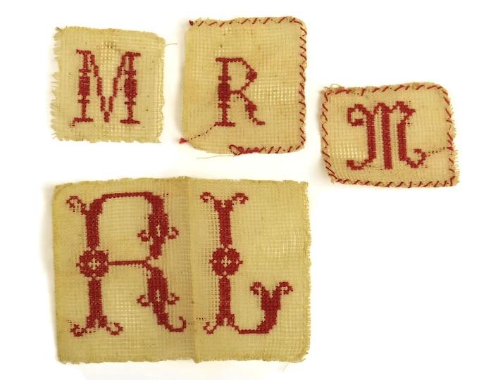 Antique Monogram Initials M R L . Redwork Sampler French Cross Stitch Alphabet Embroidery. Nursery Decor & Wall Art.