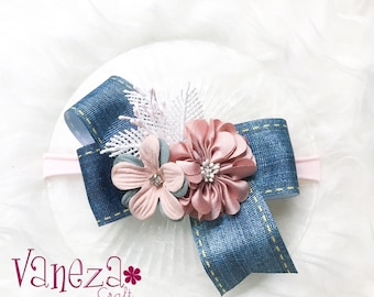 Denim flower baby headband