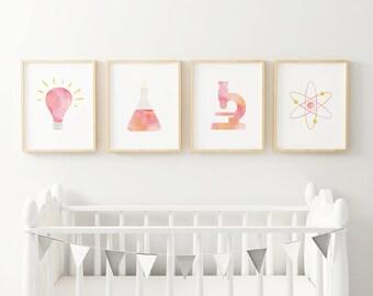 Science Nursery Print Set / Chemistry Classroom Poster / Tiny Feminist Blush Nursery Art / Kids Room Art / Scientist Birthday Party / STEM