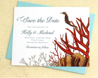 Coral Reef Save the Date for your Tropical Destination Wedding