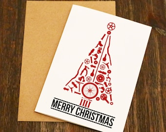 Bike Parts Christmas Tree Blank Greeting Card - Bike Gift - Cycling Christmas Card - Cyclist - Blank - Bike Christmas -Cycling Gift