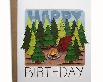Camping Happy Birthday Greeting Card