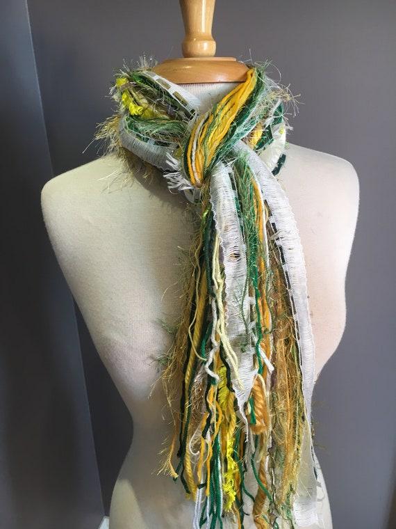 Green and Gold Fringie - Fringie in Packer, Notre Dame, Brazil, Baylor - Fringe Handmade Scarf, Green Bay Packer Colors, Green gold white