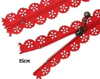 Lace zipper red 15cm not separable