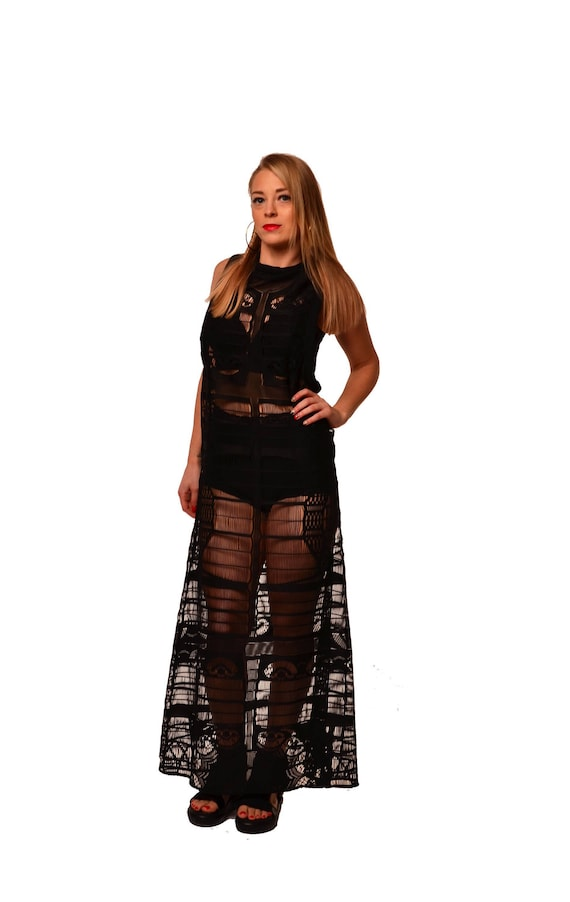 Avant dress Transparent dress dress wear Party lace garde Exravagant dress dress Black clothing Loose Sexy maxi Feminine Black dress qTIvPPw