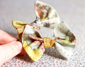 Map Bow hairpins pack. Vintage map tie for hair. Map Bow hairpins, kids hair bows. Baby hair accessory. Map Pattern Hair. Map lovers.
