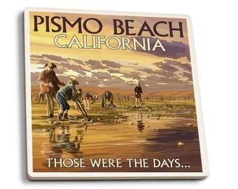 Pismo Beach, CA - Clam Diggers - LP Artwork (Set of 4 Ceramic Coasters)