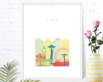 Seattle Print Poster Wall Art Printable Wedding Washington WA Nursery Skyline City Poster Download Digital Print Travel Cityscape Map