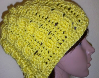 Sunshine Yellow Cable Knit Beanie