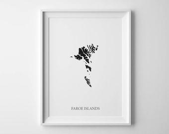 Faroe islands print Watercolor Print Faroe Islands Map Islands poster Faroe Islands art Colorful map Faroe Islands map poster Country map