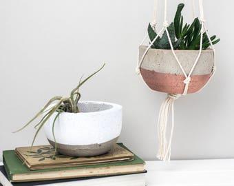 Concrete Pot –White Planter – Concrete Planter –Copper planter – Indoor Pots – housewarming gift – Air Plant Holder - macrame plant Hanger