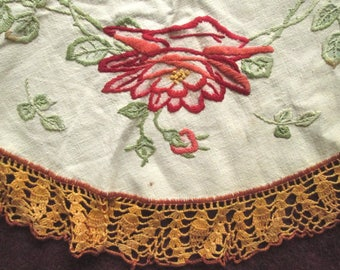 Small Hand Embroidered Table Cloth, Centerpiece, with Roses, Arts and Crafts Style