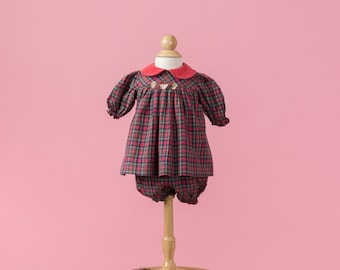 Vintage Red Tartan Plaid Teddy Bear Embroidered Dress/Underpants (Size New Born)