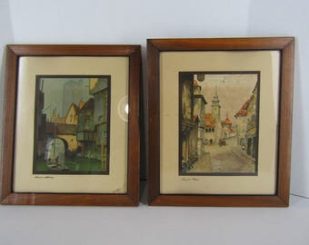 Pair of vintage framed Old World style lithographs