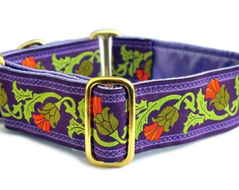 Martingale Dog Collar or Buckle Dog Collar - Custom Dog Collar - Wide Martingale Collar -  Thistle Jacquard in Purple and Olive - 1.5 Inch