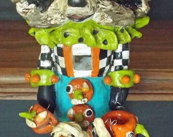 New Vintage Folk Art Style Raccoon Whimsical Character Nut Cracker Nutcracker Halloween Holiday