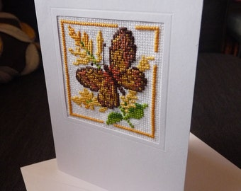 Stitched folded card showing a butterfly