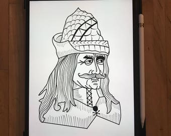 Vlad The Impaler (Count Dracula ) Woodcut/Illustrative style digital print.