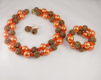 Orange Double Up Necklace Set