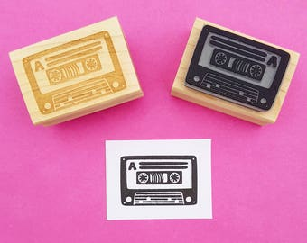 Cassette Rubber Stamp - Music Stamper - Gift Music Lover - Retro Gift - 80s Gift - Music Present  - Card making - Scrapbooking - 70s gift
