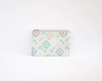Small Coin Purse, Change Purse, Coin Pouch, Zipper Pouch, Makeup Pouch, Cosmetic Pouch, Card Pouch, Card Holder - Light Blue Aztec