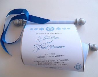 Fairytale wedding invitation scroll, scroll invitations, silver and blue wedding invitations, storybook wedding, princess invitations, 25