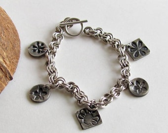 Bee and Flower Charm Bracelet - Honey Bee Bracelet - Precious Metal Clay Bracelet - Charm Bracelet