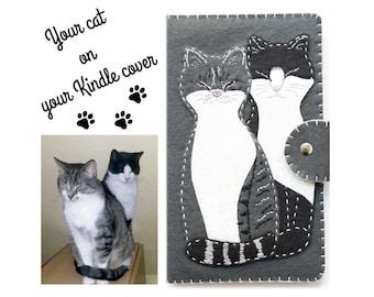 Cat Kindle Covers, Custom Kindle covers, custom Kindle case, paperwhite cover, felt cat portrait, custom cats, felt cats, personalized cat