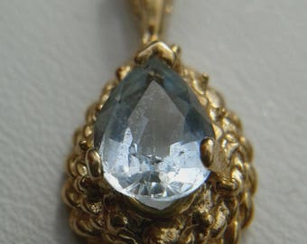 Gold and Teardrop Aquamarine Pendant (Pendant only)