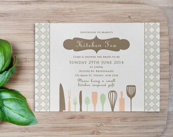 Imprimable sur mesure cuisine thé/Bridal Shower Invitation-couverts
