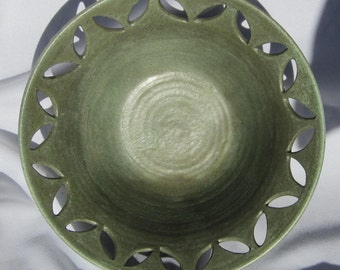 Bow in Green with Carvings around rim - Hand Made - See shop for more Pottery