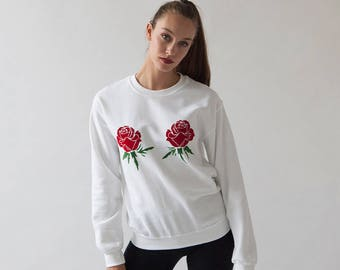 Double Rose Sweatshirt   Feminist Floral Graphic Sweatshirt   Bold Red Rose Print   Tumblr Rose Red Aesthetic