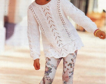 girls lacy cotton sweater knitting pattern pdf DK childrens lacy jumper tunic Vintage 22-32 inch cotton DK light worsted 8ply Download
