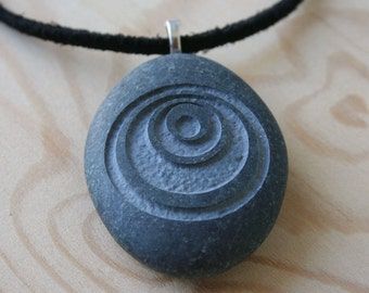 Uncommon jewelry - crop circle engraved stone necklace