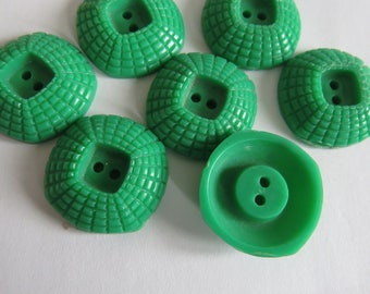 Button * vintage green textured two holes