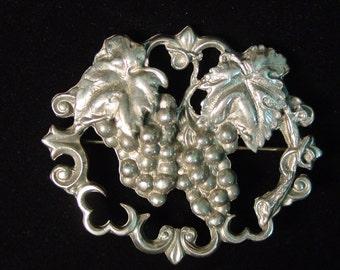 Vintage Silver Pewter Cluster of Grapes Brooch