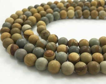 One Full Strand  6mm America Picture Jasper Round Beads , Jasper Stone ,Semi Precious Gemstone ,