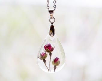 Terrarium jewelry  Real rose necklace  Rosebud necklace  Terrarium rose  Botanical necklace  Flower jewelry  Teardrop resin necklace