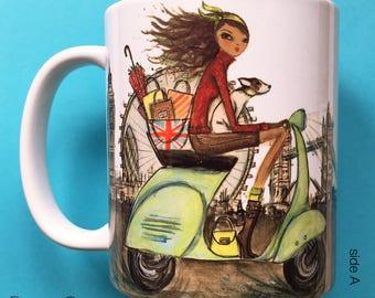 Loren London, Coffee Mug, Fashion illustration, Bella Pilar, Fashion mug