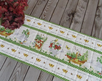 Garden table runner, quilted fabric table runner, handmade table runner, sideboard runner, table decor,74 inches