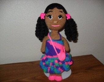 Handmade  14 Inch African American/Black/Ethnic/Brown Crochet Doll