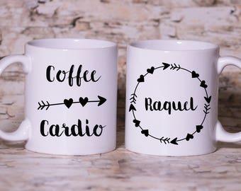 Coffee and Cardio Mug - Coffee Lover Mug, Gyn Mug,Cardio Mug -  Made to Order with Free Gift Box
