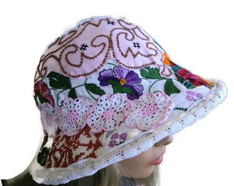 Bohemian Art hat-Bohemian summer hat (1) with lots of vintage bits and pieces