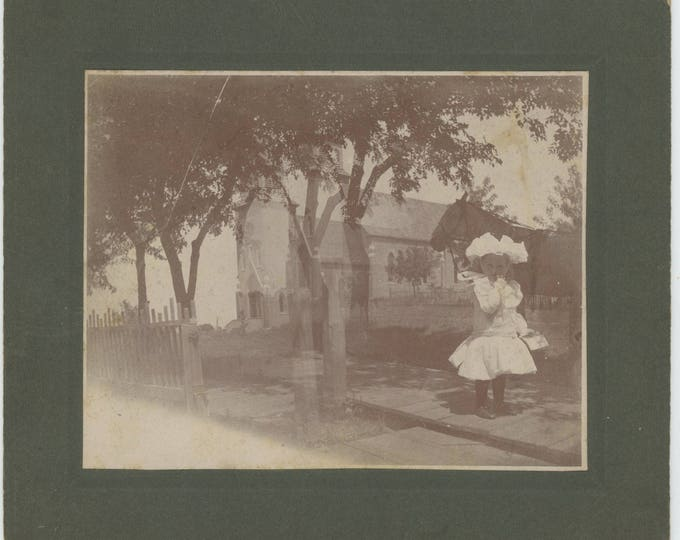 """Antique Mounted Snapshot Photo: """"Rose about 3 years on the way to Sunday School"""" Early 1900s [Double Exposure] (712629 O/S)"""