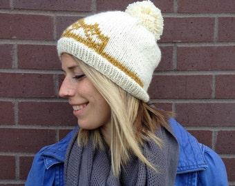 Snowboard Princess Pom Pom Beanie, Handknit Hat with Tiara Design, Ski Beanie, Crown Beanie, Snowboard Hat, Fun Winter Hat, Princess Beanie