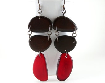 Dark Chocolate Brown and Cherry Red Shoulder Duster Trio of Tagua Nut Eco Friendly Earrings Free USA Shipping #taguanut #ecofriendlyjewelry